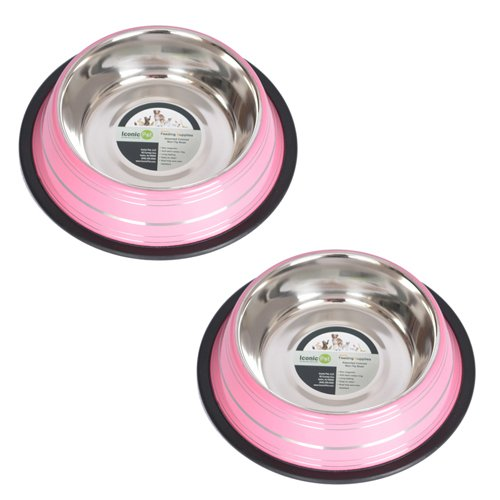 8 Ounce Splash (Iconic Pet 1 Cup Color Splash Striped Non-Skid Pet Bowl for Dog or Cat (2 Pack), Pink, 8 oz)