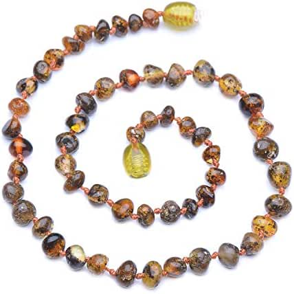 Genuine Amber - Baby Unisex Teething Necklace - 100% Natural Baltic Amber Polished Amber Beads - Natural Analgesic - Knotted Between Beads - With Plastic Screw Clasp (12.6 inches, Dark Green)