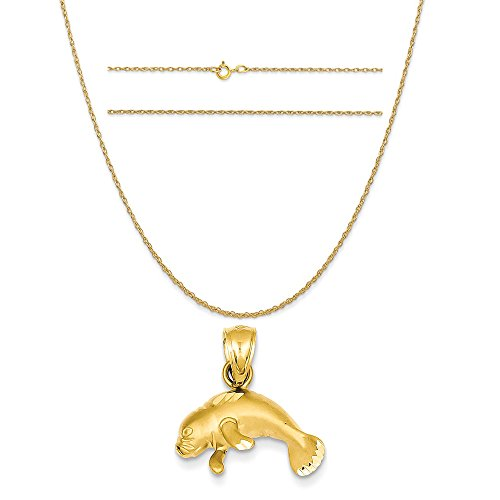 14k Yellow Gold Manatee Pendant on a 14K Yellow Gold Carded Rope Chain Necklace, 20