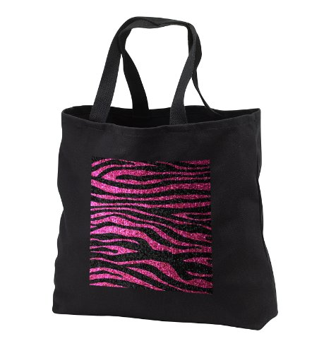 InspirationzStore Zebra Stripes - Hot Pink and Black Zebra print Faux bling photo Not Actual Glitter fancy diva girly sparkly sparkles - Tote Bags - Black Tote Bag 14w x 14h x 3d (tb_113174_1)