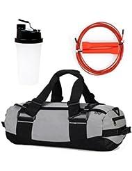 WOD GOD Fit Kit - Duffle Gym Bag Fitness Kit/Adjustable Speed Rope & Shaker Water Bottle