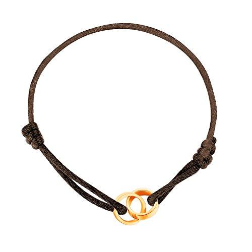 - MetJakt Stainless Steel Handmade Lucky Red String Rose Gold Love Loop Braid Rope Bracelet Adjustable Link (Brown, rose-gold-plated-stainless-steel)