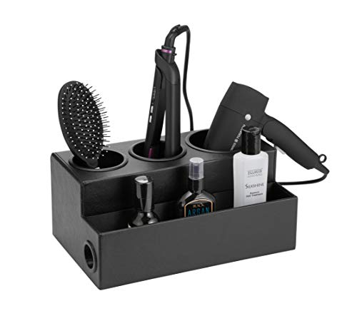 JackCubeDesign Hair Dryer Holder Hair Styling Product Care Tool Organizer Bath Supplies Accessories Tray Stand Storage Bathroom Vanity Countertop with 3 Holes(Black) - - Design Salon Hair
