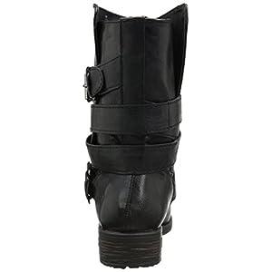 Rampage Women's islet Motorcycle Buckle Mid Calf Low Heel Boot, Black, 8 M US