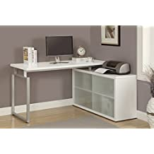 "Monarch Specialties Hollow-Core ""L"" Shaped Desk with Frosted Glass, White"