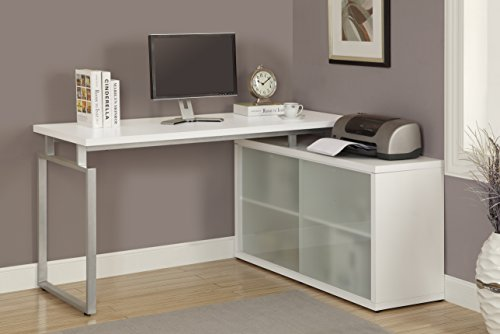 """Monarch Hollow-Core """"L"""" Shaped Desk with Frosted Glass, White"""