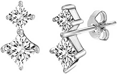 Sterling Silver Double Square Cubic Zirconia Drop Earring