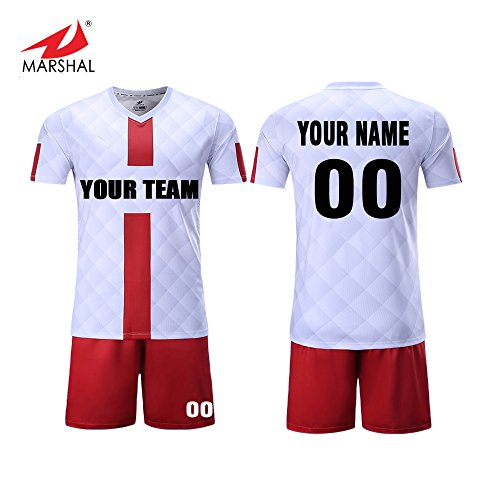 Marshal Jersey Custom Team Soccer Jerseys Set Sublimation Sportswear Fabric Custom Men's Training Uniform Suit Jersey+Shorts Custom Your Team Name, Number,Colors (M, Red)