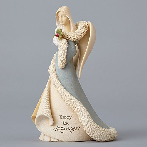 Resin Holly - Enesco Foundations Angel with Holly Stone Resin Figurine, 7.5""