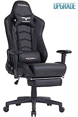 Ficmax Gaming Chair Racing Style Office Chair High-Back Computer Chair PU Leather E-Sports Chair Height Adjustable Gaming Desk Chair with Massage Lumbar Support and Footrest from Ficmax