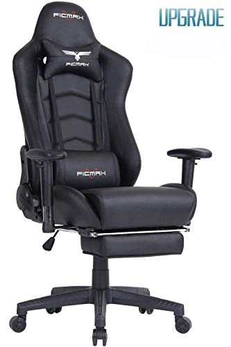 Ficmax Ergonomic Gaming Chair Racing Style Office Chair Recliner Computer Chair PU Leather High-Back E-Sports Chair Height Adjustable Gaming Office Desk Chair with Massage Lumbar Support and Footrest