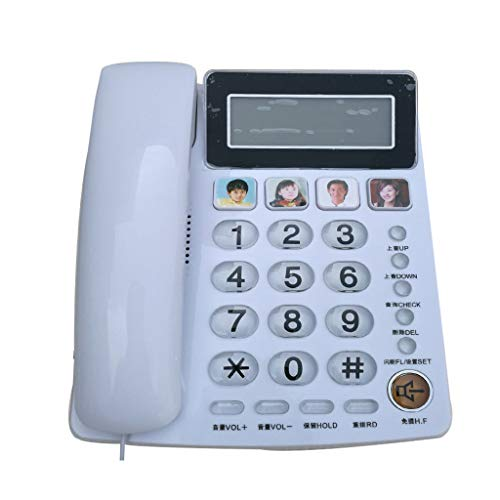 PHONE with Speaker/Big Button Hearing aid. 4 Large and Easy to Set Photo Memory Buttons for Quick one-Touch Dialing. (White)