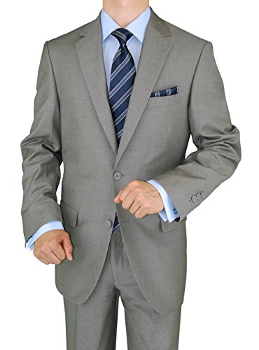 Silk Pants Front Flat (Gino Valentino 2 Piece Men's Side Vents Jacket Flat Front Pants 2 Button Light Gray Suit (46 Regular US/56 Regular EU))