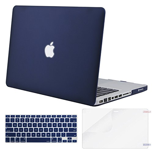 MOSISO Plastic Hard Shell Case & Keyboard Cover & Screen Protector Only Compatible Old MacBook Pro 13 Inch (Model: A1278, with CD-ROM), Release Early 2012/2011/2010/2009/2008, Navy Blue