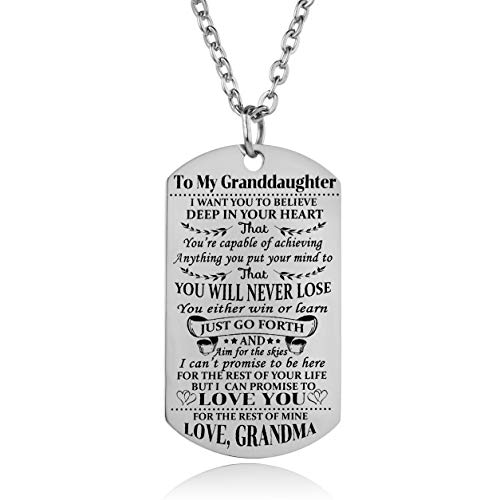 (YEEQIN Gramddaughter Necklace Love Granddaughter Dog Tag Believe Inspirational Gifts from Grandma Grandmother to Granddaughter Birthday Graduation Gifts )