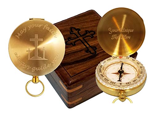 Stanley London Engraved May Your Faith Always Guide You Brass Pocket Compass, Personalized Baptism/Confirmation Gift (Personalized Compass & Box) ()