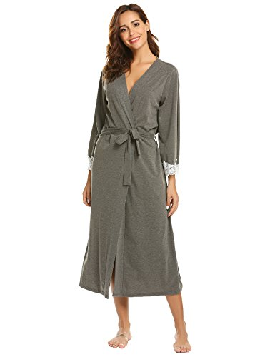 Ekouaer Womens Kimono Robe Short Lightweight Viscose Knit Long Bathrobe,Lace-long-dark Grey,Medium ()