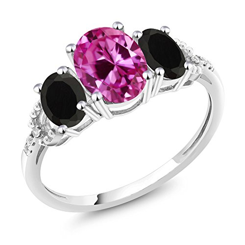 Gem Stone King 10K White Gold Pink Created Sapphire Black Onyx and Diamond Accent 3-Stone Women's Engagement Ring (2.48 Ct Oval, Available in size 5, 6, 7, 8, 9) (Black Ring Pink Engagement)