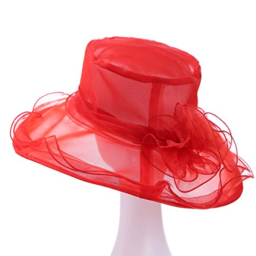 Red Hats Wide Brim Hat - IL Caldo Women's Kentucky Derby Sun Hat Fascinator Flowers Wide Brim Gauze Hat Headdress,Red
