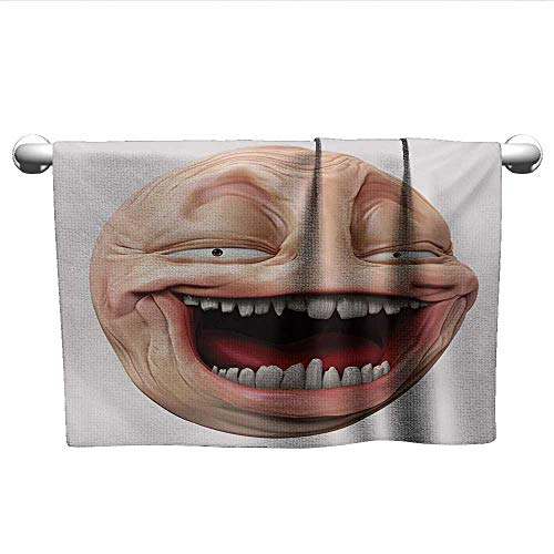 Square Towel Humor,Poker Face Guy Meme Laughing Mock Person Smug Stupid Odd Post Forum Graphic,Peach and Pearl,wrap Towel for Women