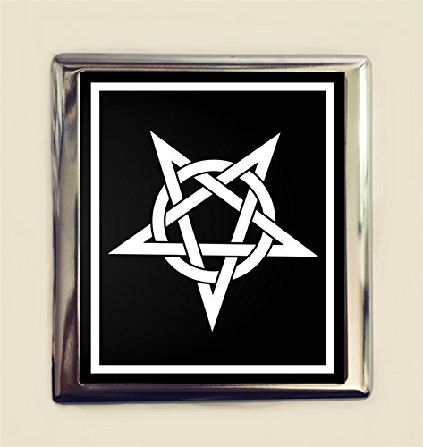 Wallet Pentagram (Satanic Pentagram Cigarette Case Business Card ID Holder Wallet Satanism Goth Heavy Metal Dark Art)