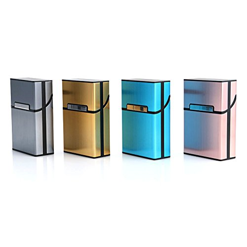 Wrisky Aluminum Metal Cigar Cigarette Box Holder Pocket Tobacco Storage Case (Pink)