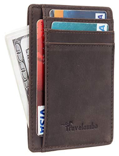 Travelambo Front Pocket Minimalist Leather Slim Wallet RFID Blocking Medium Size(02 crazy horse coffee)