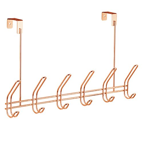InterDesign Classico Over Door Storage Rack - Organizer Hooks for Coats, Hats, Robes, Clothes or Towels – 6 Dual Hooks, Copper by InterDesign