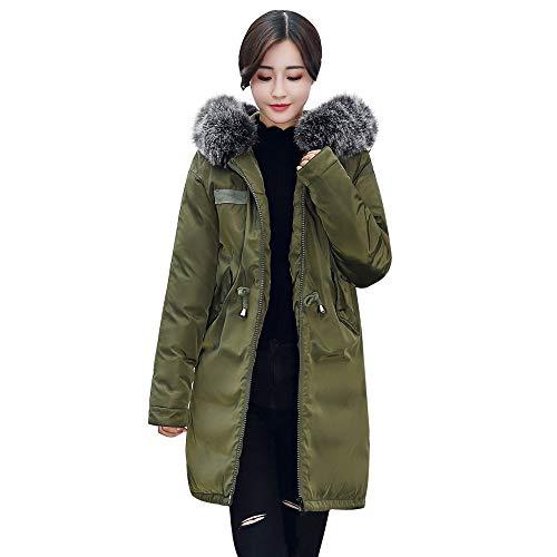 UONQD Women Outerwear Cotton-Padded Jackets Pocket Fur Hooded Long (Orange Cheerleader Jacket)