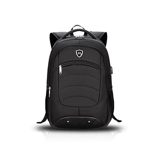 FANDARE Moda Mochila para Ordenador 15.6 Portátil Pulgadas Morral al Aire Libre Viaje Escuela Negocio Bolso Hombres Mochila Excursionismo Impermeable Duradero Alta Capacidad Mochila Poliéster Negro Negro 1