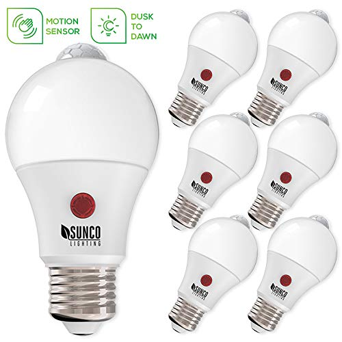 Sunco Lighting 6 Pack A19 LED Bulb Dusk-to-Dawn (Photocell) & Motion (PIR) Detection, 9W=60W, 3000K Warm White, Motion-Activated at Night, Security Light - UL