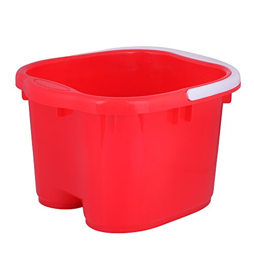 Foot Spa Bucket with Handle and Removable Rollers for Massage (Red)
