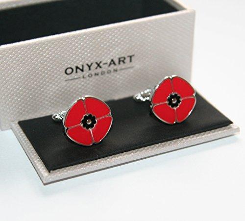 Premier Life Store. Onyx Art Metallic Red Poppy Rememberance Day Designer Cufflink's in a Gift Box - CK861