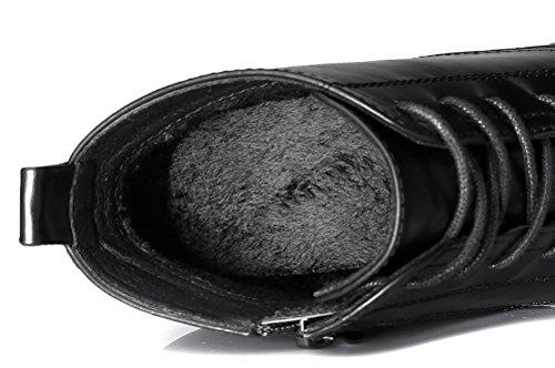 Youxuan Women's Winter Walking Short Booties Slip Resistant Girls Platform Flats Snow Boots Black 5.5M US by Youxuan (Image #6)