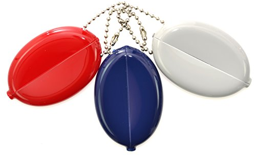 Quikoin Original Oval Sof-Touch Squeeze Coin Purse Made in USA (3 Quikoins - Navy, Red, Gray (Opaque))
