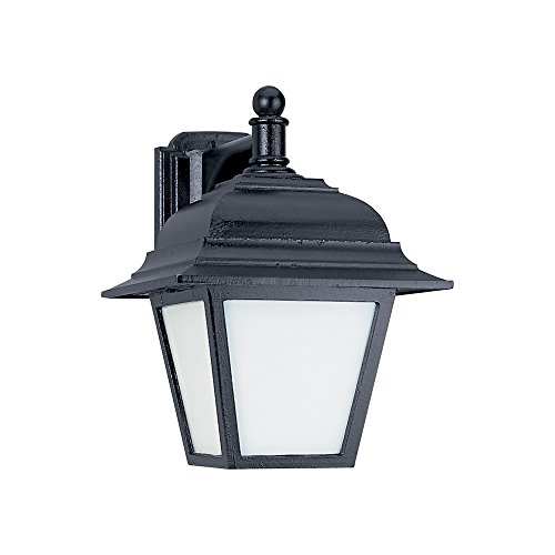 - Sea Gull Lighting 89316BLE-12 Bancroft - One Light Outdoor Wall Sconce, Black Finish with Smooth White Glass