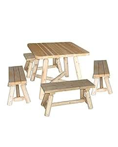 Mesa con banco de madera, conjunto comedor, 100% cedro blanco, Réf R2S, cedro & rondins