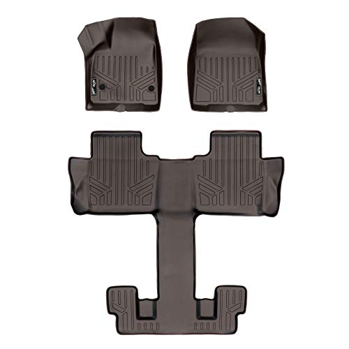 (MAX LINER A3230/B3230 Custom Fit Floor Mats 3 Liner Set Cocoa for 2017-2019 GMC Acadia with 2nd Row Bucket Seats)