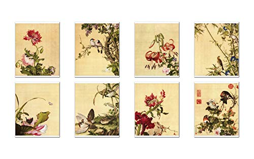 Wish Pub - Set of 8 Unframed China Fine Art Prints, Famous Chinese Painter Giuseppe Castiglione, 8x10 inch ()