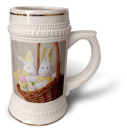3dRose Stamp City - holiday - Photo of two yellow, plaid and polka dot stuffed bunnies in a basket. - 22oz Stein Mug (stn_308389_1)