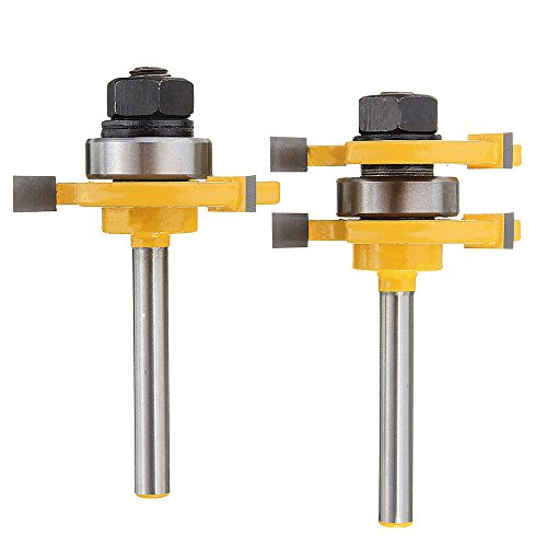 Yakamoz Set of 2 Pieces 1/4-Inch Shank Matched Tongue and Groove Router Bit Set (Groove Set)