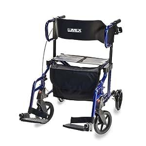 Lumex Lightweight Hybrid Rolling Walker Rollator Transport Chair