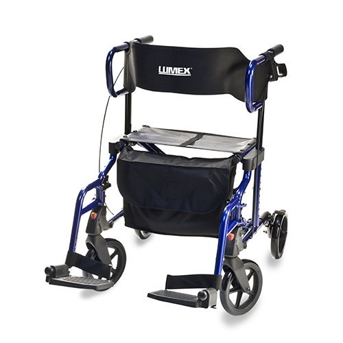 Lumex Lightweight Hybrid Rolling Walker Rollator Transport Chair