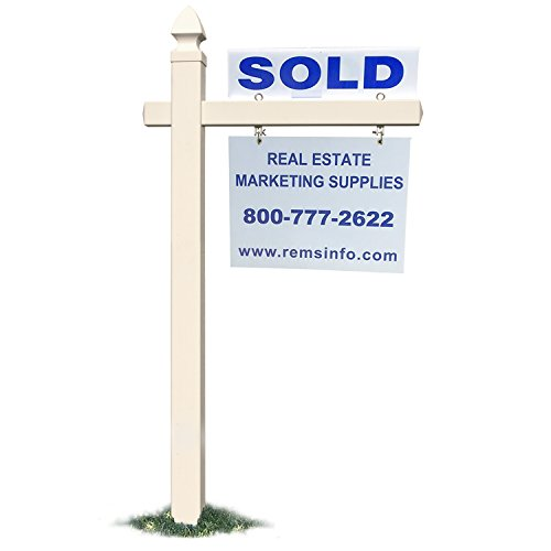 """Houseables Real Estate Sign Post, White, 60"""" x 4"""", 36"""" Cross Arm, Vinyl PVC, Yard Pole, Signpost For Outdoor, Realestate Signs, With Rider Clips, Realtors Frame, Homes, House Hanging Signage, Holder"""