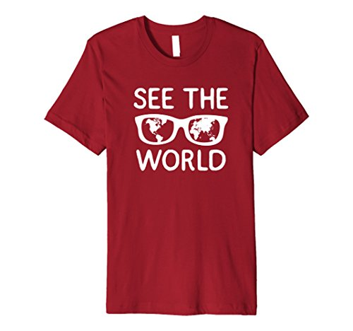Mens See The World Shirt w/glasses for adventure & Travel Seekers Medium Cranberry (Seekers Glass)