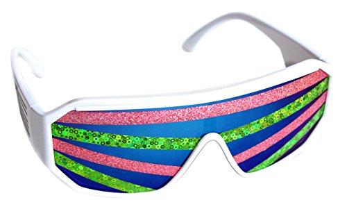 Rasslor Pink and Green Stripe White Frame Blue Lens Shield 140mm - 140 Sunglasses Mm