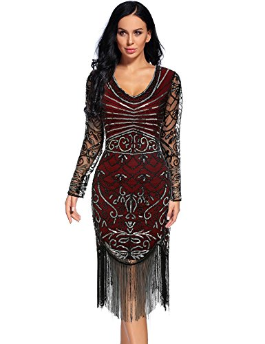 Women's Vintage 1920s Sequin Floral Midi Gatsby Flapper Prom Club Dress(Burgundy-3,XXL)