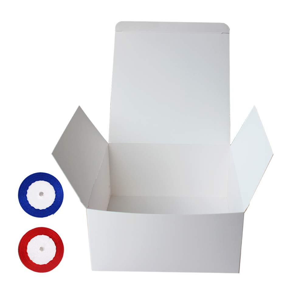 artigianato YBCPACK blu e rosso cupcake 20 x 20 x 10 cm Confezione da 15 scatole regalo in carta bianca con 2 nastri bomboniere scatole regalo di carta per regali