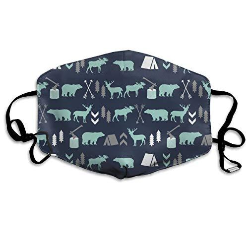 Woodland Boys Design Mint Grey Navy Blue Bear Moose Forest Arrow Kids Nursery Baby Print Anti Dust Mask Anti Pollution Washable Reusable Mouth Masks ()
