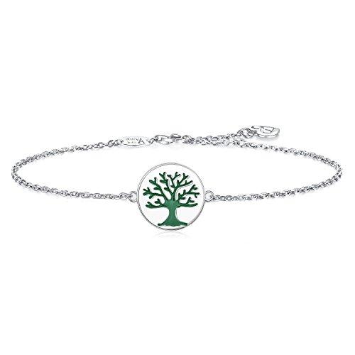 (AmorAime 925 Sterling Silver Engraved Green Family Tree of Life Disc Bracelet for Mom Grandmother)